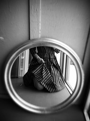 * (Lisa Toboz) Tags: blackandwhite selfportrait reflection mirror pattern stripes 1950s photoaday vintagedress utatafeature