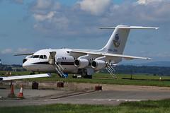 ZE700 parked. (aitch tee) Tags: aircraft airliner bae146 royalairforce walesuk cardiffairport ttail ze700 maesawyrcaerdydd cwlegff signatureaircrafthandling parkedonthecambrian