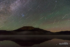 Night of the Falling Stars (kevin-palmer) Tags: perseid meteorshower shootingstar night sky stars starry astronomy astrophotography perseids perseidmeteorshower dark beartoothmountains beartoothhighway wyoming summer august early morning beartoothlake beartoothbutte water reflection glassy mirror airglow green nikond750 tokina1628mmf28 shoshonenationalforest clear composite fog foggy astrometrydotnet:id=nova1685481 astrometrydotnet:status=failed