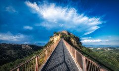 civita (Eddy Alvarez) Tags: civita di italy travel lines path village medieval color sky clouds hill europe unesco bagnoregio walkway shadows