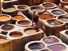 Tannery Vats, Fes,  Morocco (HerringCoveMike) Tags: tannery dye vat fes morocco leather clothing chemicals colours skins
