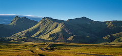 Iceland-Panorama (Maximilian Kau) Tags: 2016 canon eos 650d raw lightroom stm efs18135mm evening abend sonnenuntergang sunset kontrast landschaft landscape way weg berg berge hill hgel mountain iceland island amazing great sky panorama green blau blue geld typical typisch summer sommer reise travel traveling allesfrdasfoto natur nature outdoor holiday sunny lone alone lonely vk vesturskaftafellsssla licht light schatten shadow schotterpiste perfect