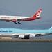 Air Berlin Airbus 330 -200 D-ALPA, Korean Air Boeing 747-8, HL-7631, port profiles, runway 28, SFO DSC_1817