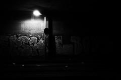 This is not street photography (Alexandre Dulaunoy) Tags: blackwhite bw streetart street art graffiti noiretblanc noirblanc denhaag railways bynight light