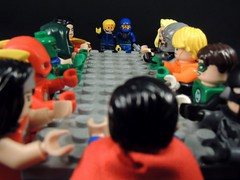 Why Weren't We Invited? (MrKjito) Tags: lego minifig justice league meeting not invited time travelrs booster gold blue beetle super hero dc comic comics hall lost inivitation