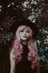 (emmakatka) Tags: girl pink hair fashion hat witchy emmakatka photography tree forest bokeh curl curly curlyhair leaves surreal dreamy dream pastel glow art