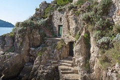 Castle Egress to the Sea (Herculeus.) Tags: 5photosaday 2016 adriaticsea aug bouldersstonerocks buildings castles croatia doorsdoorway dubrovnik harbors medieval sea stairs