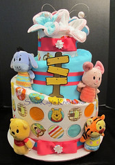 Winnie the Pooh & Friends Topsy Turvy Girls Diaper Cake (Sharikay's Kreations (Formerly Shari's Diaper Cake) Tags: diapercake diaper topsyturvy whimsical pooh eeyore tigger piglet babygift babyshower blankets baby