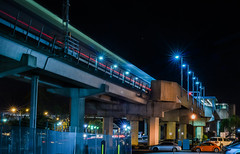 bart station (pbo31) Tags: oakland california eastbay alamedacounty september fall 2016 bayarea nikon d810 color boury pbo31 black dark night lightstream motion westoakland bart metro publictransit elevated infinity overpass ramp