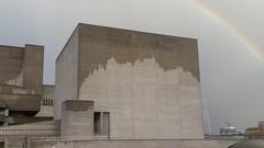 Wet Southbank concrete (sarflondondunc) Tags: southbank southbankcentre waterloobridge lambeth london concrete rainbow