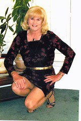 Black/Red Dress (bobbievnc) Tags: black tv highheels dress legs cd tgirl short tranny blonde pantyhose crossdresser nylons shemale tanpantyhose
