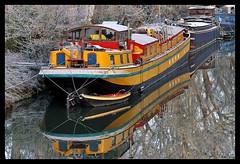 Canal du Midi, Pont des Demoiselles, Toulouse, Haute-Garonne (lyli12) Tags: france nikon reflet neige toulouse paysage péniche gel froid urbain canaldumidi hautegaronne midipyrénées d3000