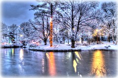 """""""Christmas Wonderland"""" (RockyWaters2012) Tags: park christmas sky canada reflection water st newfoundland reflections lights scenic calm johns tranquil bowring"""
