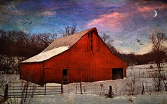 Maureen O' (TicKavich) Tags: red snow texture barn fence photomix bestevercompetitiongroup creativephotocafe besteverdigitalphotography