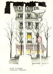 Clermont-Ferrand, Place Victoire (Luis_Ruiz) Tags: voyage france architecture night de sketch place drawing auvergne victoire clermontferrand carnet