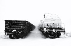 Winter between the Trains (Bernie Kasper) Tags: railroad travel winter bw white snow art ice nature train landscape outdoors photography nikon indiana rail madison d200 effect kasper railroadtracks naturephotography photomix jeffersoncounty madisonindiana berniekasper curatorsset