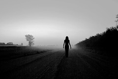 (emmakatka) Tags: road sky white black tree girl silhouette fog night dark alone country emma lonely infinite gravel katka