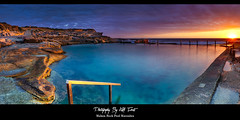 Mahon Rock Pool - Maroubra Panorama (Kiall Frost) Tags: blue red panorama orange sun seascape color colour water pool rock clouds swimming sunrise landscape photography photo rocks aqua photographer image pano australia panoramic nsw maroubra mahon kiallfrost