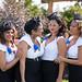 vintage-bridesmaid-hair-black-fascinators-classy