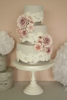 Lace & roses wedding cake by Cotton and Crumbs
