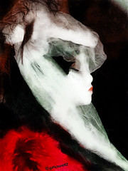 The Lady is not for turning (Steve Taylor (Photography) Internet V slow) Tags: red woman white black net proud lady veil head feathers style pout redlips shoulders transparent sideview whiteface toulouselautrec aloof darkeyeshadow artofimages