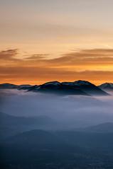 Sunset on the Alps 3 (Vol'tordu) Tags: winter sunset mist france mountains alps alpes grenoble landscape pentax dusk mount k7 tamron287528