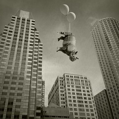 upside downtown (Janine Graf) Tags: silly 6x6 boston balloons ma downtown skyscrapers surreal officebuildings adventure financialdistrict rhino artrage whimsical airtravel traveler whiterhinoceros waitforme juxtaposer sandiegowildsafaripark janine1968 iphone4s scratchcam janinegraf snapseed damngiraffes