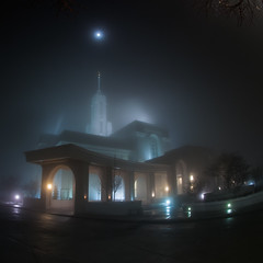Seeing the Light (Adam's Attempt (at a good photo)) Tags: lighting longexposure trees moon cold tree fog architecture angel night dark temple nikon foggy fisheye portal mormon lds spotlights mormontemple 105mm templeatnight angelmoroni d90 ldstemple seeingthelight lr4 mounttimpanogostemple