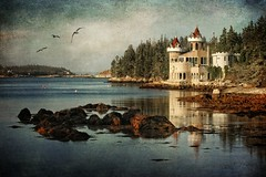 Once Upon a Time in Southwest Cove (sminky_pinky100 (In and Out)) Tags: travel sea canada reflection building castle tourism water fairytale landscape pretty novascotia cove gulls scenic coastal coastline unusual whimsical textured tees roack thewatchtower omot cans2s southwestcove travelpilgrims artistictreasures exhibitionoftalent masterclassexhibition imageexcellence texturetheworld