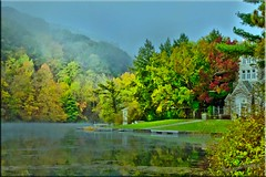 The Lake House... (Aquamarine Images) Tags: fall misty fog mistymorning canonphotos hdrimages pennsylvaniapa earlymorningimages aquamarineimages hdrphotoshopimages fallmistyimages