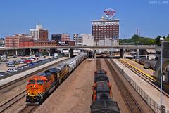"BNSF Trains in Kansas City, MO (""Righteous"" Grant G.) Tags: city railroad west train sand power railway trains east amtrak missouri kansas locomotive passenger ge freight bnsf westbound frac eastbound intermodal gevo amtk citirail"