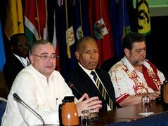 Prime Ministers David Thompson, Patrick Manning and Ralph Gonsalves on the second day of the Convocation. (barbadosgovernmentinformationservice) Tags: 137