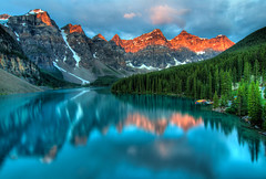 Moraine Lake Sunrise (kaylees.allen) Tags: alberta amazing banff beautiful blue canada clouds colorful forest hdr hiking lake lakelouise landscape morning mountains nature red reflection rock summer sunrise travel water alpine aqua attraction calm canadian deep destination emerald famous moraine national outdoor park peaceful peaks pristine pure rockies rocky scenery scenic serenity summit tourism tranquil turquoise vivid banffnationalpark can