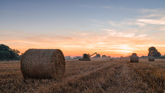 2016 Harvest - Harvest dawn (Birm) Tags: blue harvest bails straw combine harvester dawn sunrise summer august worcestershire sun sky field outdoor landscape sony a7ii