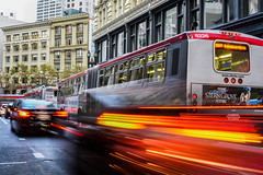 38r at the close of rush hour (pbo31) Tags: california bayarea nikon d810 color boury pbo31 august 2016 summer sanfrancisco city urban lightstream motion traffic motionblur unionsquare ofarrellstreet red passing muni bus