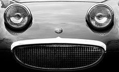 Frog Eyed Sprite (Russ Argles) Tags: frog eye sprite austin headlights black white bw canon 70d eos face grille
