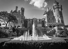 Gothic Revival (Viv Lynch) Tags: casaloma toronto attraction ontario tourism castle gothicrevival architecture gardens back lakeside sunset downtown davenport building victorian gothic fountain canada summer 2016 black white blackandwhite mono museum mansion