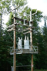 """One-Armed Bandit"" (en tee gee) Tags: poles transformers 46kv singlephase substation nyseg"