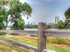 Over the Fence & Cross the River (clarkcg photography) Tags: fence arkansasriver tulsa wood railfence view landscape hyperfocal fenced friday fencedfriday landscapesaturday7dwf