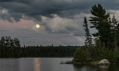 'Devil Moon on the Rise' (Part II) (Canadapt) Tags: sunset lake moon rise full reflection island clouds evening keefer canadapt