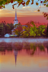 Church Sunrise (jlucierphoto) Tags: church sunrise fall autumn massachusetts braintree lake fog mist morning lovelyflickr