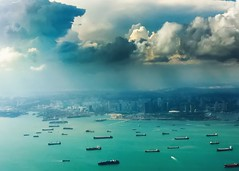 Singapore. (BadGunman) Tags: state city cityscape sky clouds airport changi byplane building marinabay bay marina tanker asie asia singapour singapore