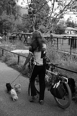 Dog-sitter (Audrey_Lamy) Tags: dog sitter dogsitter walking walk street streetphotography monochrome blackwhite black white noirblanc noir blanc japon japan tokyo ueno bike velo promenade chien rue funny photography