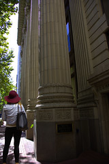 It Is So Tall (swong95765) Tags: feeling size small tall woman female lady city building massive structure sidewalk