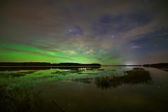 Stymied by cloud (Len Langevin) Tags: aurora borealis northernlights long exposurenighthigh iso reflection sky cloud landscape nikon d300s tokina 1116 alberta canada