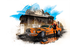 Ford Mustang Chopped (Hans Ruijter) Tags: blue orange brown art ford dusty route66 dirt mustang dust giclee artistimpression