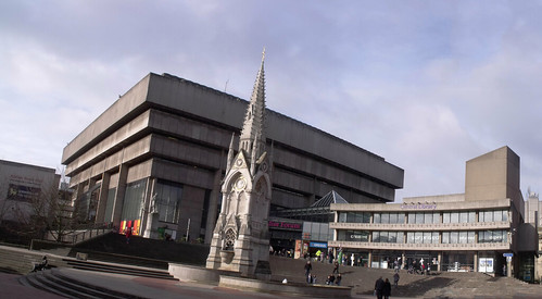 Birmingham Central Library from Chamberlain Square - panoramic