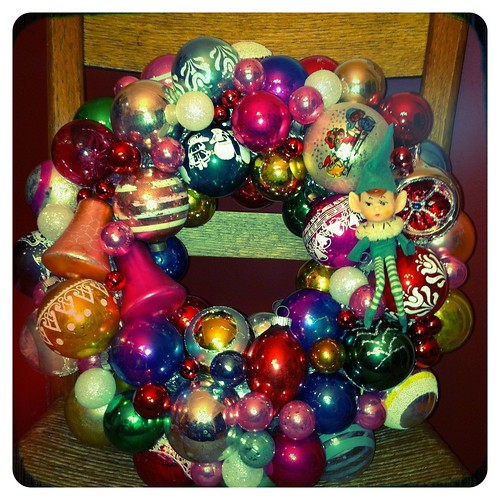 Made another vintage ball wreath while cookies were cooling