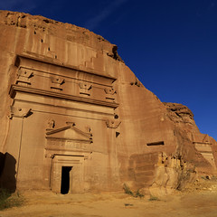 Madain Saleh Archaeologic Site, Saudi Arabia (Eric Lafforgue) Tags: voyage door travel archaeology grave rock outside outdoors desert outdoor tomb petra middleeast entrance bluesky nopeople unescoworldheritagesite unesco heat arabia porte saudiarabia rocher worldheritage 2010 tombe ksa archeologie tombeau entree chaleur nabataean nabatean exterieur dedan saudiaarabia moyenorient colorpicture squarepicture kingdomofsaudiarabia hegra photocouleur madainsaleh arabiesaoudite colourpicture alhijr madainsalih nabateen thelandofthetwoholymosques nabataeankingdom imagecarree alulaarea sitearcheologiquedealhijr ksa00716