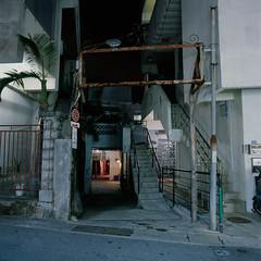 Houses and Snack Bars (akira ASKR) Tags: longexposure night fuji okinawa 沖縄 naha provia provia100f planar 夜 hasselblad500cm 長時間露光 那覇 rdpiii sakurazaka 桜坂 那覇市 planarcf80mm